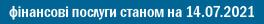 фінансові послуги станом на 14.07.2021